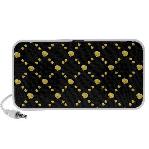 Yellow Rosebuds on Black Mp3 Speakers