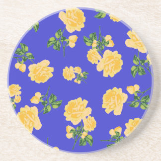Yellow roses Chinese Floral pattern on blue Coaster