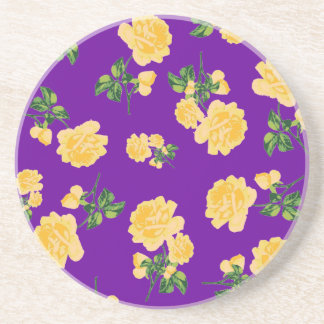 Yellow roses Chinese Floral pattern on purple Coaster