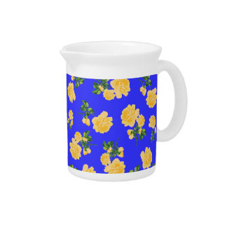 Yellow roses Chinese style blue floral jug Pitcher