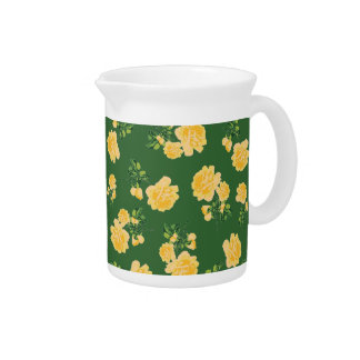 Yellow roses Chinese style green floral jug Pitcher