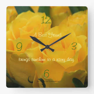Yellow Roses Clock-personalize your way Clocks