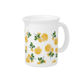 Yellow roses country cottage floral jug - white pitcher