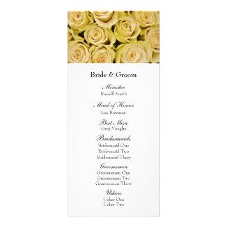 Yellow Roses Elegant Floral Wedding Program Rack Card