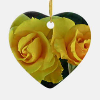 Yellow Roses Floating In Space Ceramic Heart Decoration