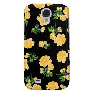 Yellow roses Floral pattern on black Galaxy S4 Case