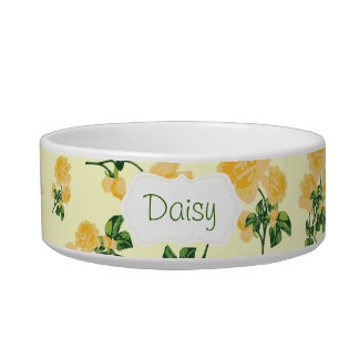 Yellow roses Floral pattern on cream pet bowl