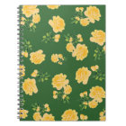 Yellow roses Floral pattern on dark green notebook