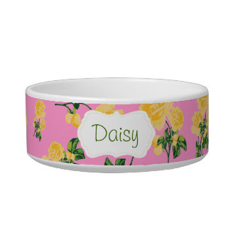 Yellow roses Floral pattern on pink pet bowl