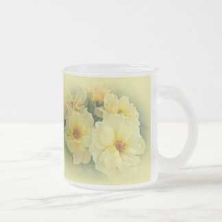 Yellow Roses Frosted Glass Mug