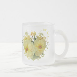 Yellow Roses In A Heart Frosted Glass Mug