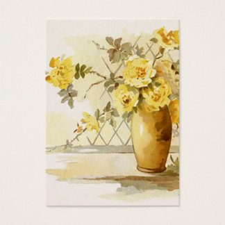 Yellow Roses in a Pottery Vase