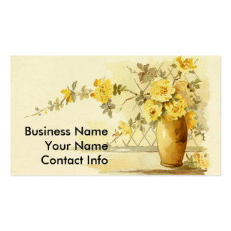 Yellow Roses in a Pottery Vase Business Cards
