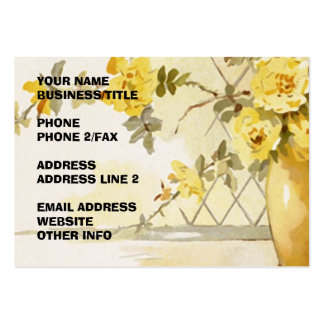 Yellow Roses in a Pottery Vase Business Card Templates