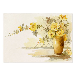 Yellow Roses in a Pottery Vase Business Card Template