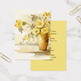 Yellow Roses in a Pottery Vase | Watercolor Floral Business Card