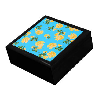 Yellow Roses jewelry / gift box - blue