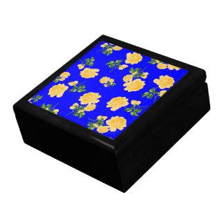 Yellow Roses jewelry / gift box - Chinese blue