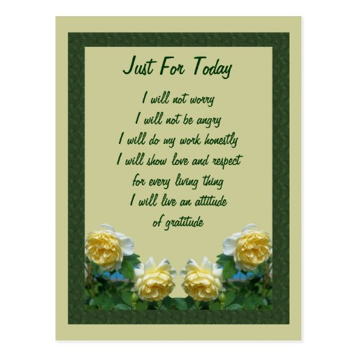 Yellow Roses Just For Today Inspirational Postcard