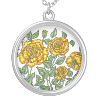 Yellow Roses Round Pendant Necklace