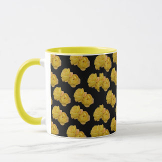 Yellow Roses On Black Background, Coffee Mug
