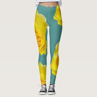 Yellow Roses on Teal Background Leggings