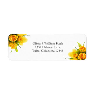 Yellow Roses on White - Address Labels