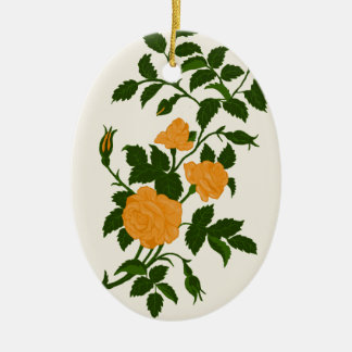 Yellow Roses, Personalized Back Christmas Ornament