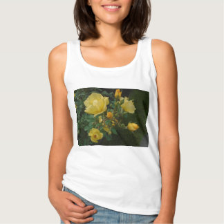 yellow roses rustic floral boho women tank top