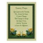Yellow Roses Serenity Prayer Postcard