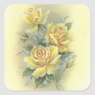 Yellow Roses Square Sticker