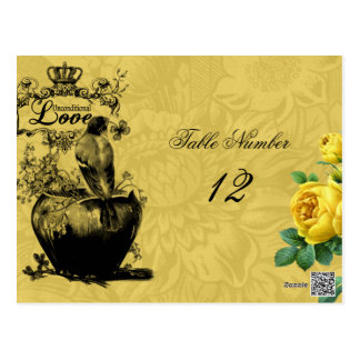 Yellow Roses Table Number Postcard