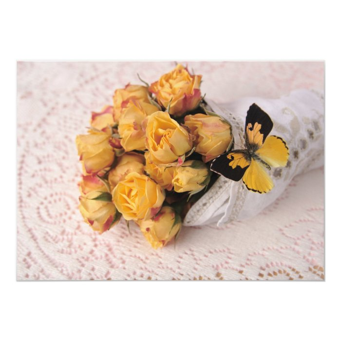 yellow roses with butterfly invitation