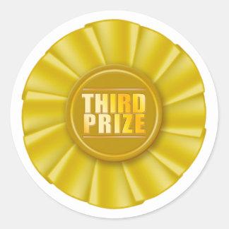 yellow rosette third prize sticker