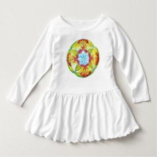 Yellow Round Mandala Ruffle Dress
