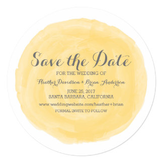 Yellow Round Watercolor Save the Date Invite
