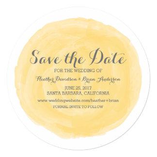 Yellow Round Watercolor Save the Date Invite 13 Cm X 13 Cm Square Invitation Card
