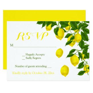 Yellow RSVP Watercolor Lemons Green Wedding Card