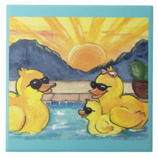 Yellow Rubber Duck Family in Pool Tile Trivet