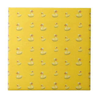 Yellow rubber duck pattern small square tile