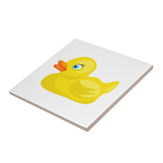 Yellow Rubber Duck Ceramic Tile