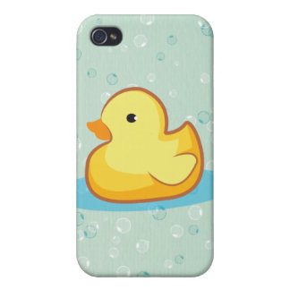 Yellow rubber duck with bubbles iPhone 4S iPhone 4/4S Cover