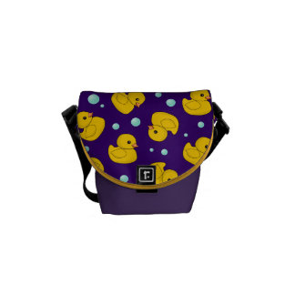 Yellow Rubber Duckies purple bag Messenger Bags