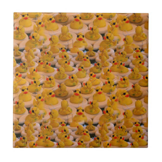 Yellow Rubber Ducks Cute Pattern Small Square Tile