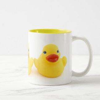 Yellow Rubber Ducks Two-Tone Mug