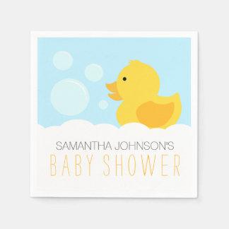 Yellow Rubber Ducky Bubble Bath Baby Shower Disposable Serviettes