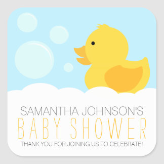 Yellow Rubber Ducky Bubble Bath Baby Shower Square Sticker
