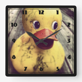 Yellow Rubber Ducky Needs a Bath! Clock