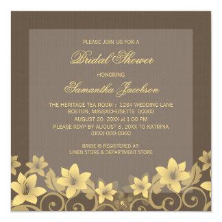 """Yellow Rustic Floral Bridal Shower Invite 5.25"""" Square Invitation Card"""