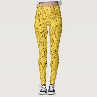 Yellow rustic floral  print leggings